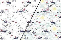 Baumwolljersey Farbwechsel mit Booten und Wellen 001