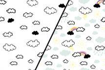 Baumwolljersey Farbwechsel mit Sonne, Wolken und Regenbogen 001