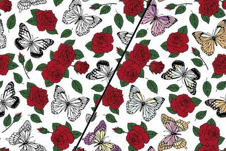 Baumwolljersey Farbwechsel mit roten Rosen und Schmetterlingen