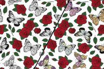 Baumwolljersey Farbwechsel mit roten Rosen und Schmetterlingen 001