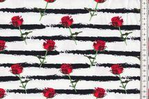Jersey Stoff schöner Stoff gestreift mit Rosen auf weiß 001