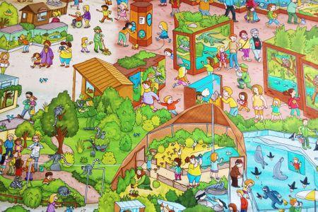 Baumwolljersey Wimmelbuch auf dem Zoo – Bild 1