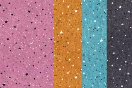 Baumwolljersey Stoff mit Sternchen in altrosa, blau, senf oder anthrazit meliert – Bild 1