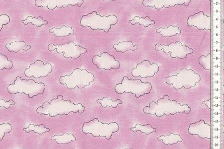 Baumwolljersey Stoff mit Wolken in rosa oder blau – Bild 2