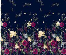 Jersey Eigenproduktion Panel Blumenwiese auf blau 001