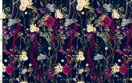 Jersey Eigenproduktion Blumen und Mohnblumen auf blau