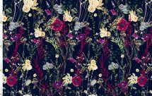 Jersey Eigenproduktion Blumen und Mohnblumen auf blau 001
