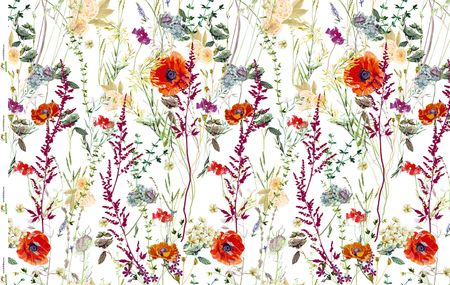 Jersey Eigenproduktion rote Blumen auf weiß