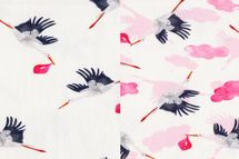 Jersey Eigenproduktion Störche rosa auf weiß, mit und ohne Wolken 001
