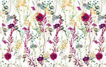 Jersey Eigenproduktion Blumen in dunklem rot auf weiß 001