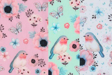 Softshell Birds Vögel in rosa, mit oder hellblau – Bild 1