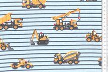 Baumwoll-Sweat UNDER CONSTRUCTION mit Baufahrzeugen und Streifen auf blau 001