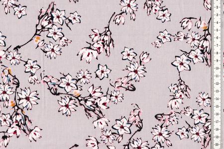 Baumwolle mit Zweigen und Kirschblüten auf hellgrau oder rosa – Bild 2