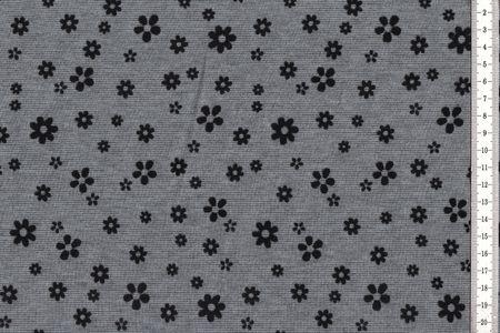 Romanit Jersey dunkles grau, helles grau oder schwarz  mit aufgedruckten erhabenen Blumenmotiv – Bild 2