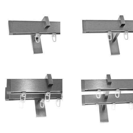 Innenlauf Gardinenstangen eckig Edelstahl Look kantiges Design 1-, 2- läufig E90