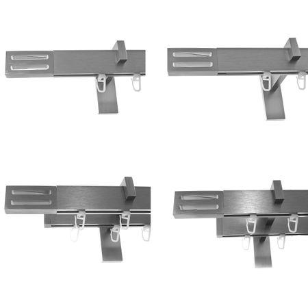 Innenlauf Gardinenstangen eckig Edelstahl Look kantiges Design 1-, 2- läufig E91