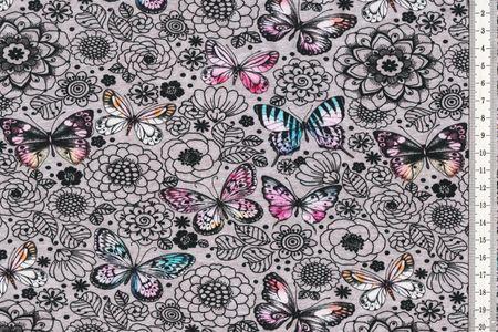 Jersey mit Blumen und bunten Schmetterlingen auf grau von Fräulein von Julie