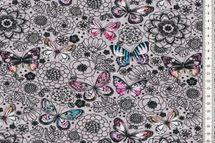 Jersey mit Blumen und bunten Schmetterlingen auf grau von Fräulein von Julie 001