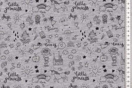 """Baumwolljersey mit """"Little Princess"""" Einhorn auf pink oder grau leuchtet in dunklen – Bild 2"""