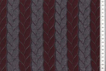 Jacquard Strickstoff Zopf in grau/schwarz oder grau/bordeaux – Bild 2
