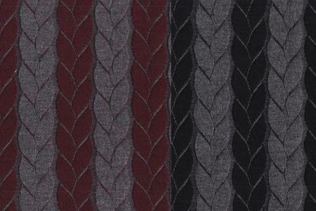 Jacquard Strickstoff Zopf in grau/schwarz oder grau/bordeaux