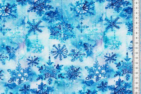 Sommersweat mit Wintermuster Sterne Kristall in blau Batik