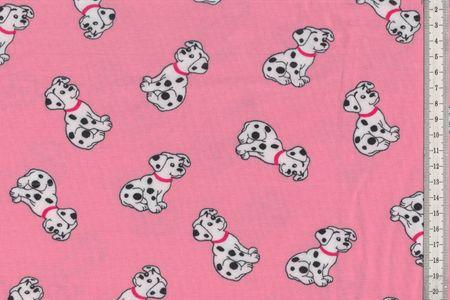 Jersey mit Dalmatiner auf rosa schöner Kinderstoff