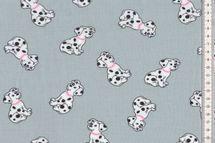 Jersey mit Dalmatiner auf grau schöner Kinderstoff 001
