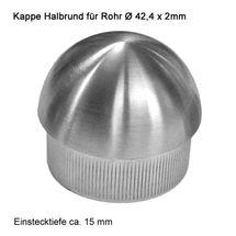 Edelstahl Geländer V2A Endkappen Rohrstopfen Rohrkappe - Geländerrohre Ø 42,4 mm