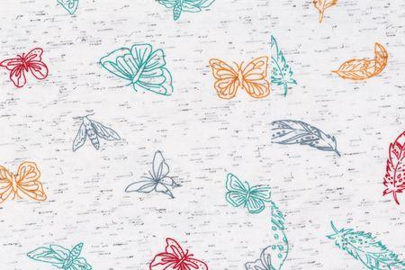 Jersey Stoff bedruckt mit Federn oder Schmetterlingen auf weiß meliert – Bild 1