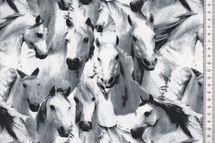 Jersey Stoff Horses Pferde weiss und grau 001