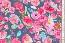 Jersey Stoff Blumen auf grau Floral Scenery 001