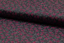 Baumwolle mit Rosen auf dunklem Grau 001