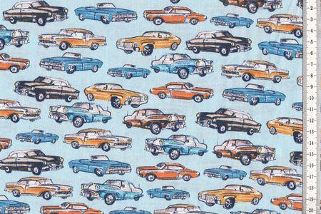 Baumwolle mit Retro Cars Autos auf hellblau