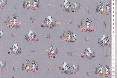 Baumwolle Little Friends, mit Waschbären auf grau