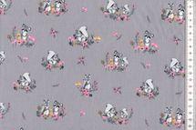Baumwolle Little Friends, mit Waschbären auf grau 001