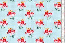 Baumwolle Rosen auf hellbauem Muster 001