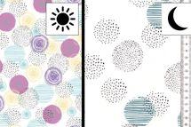 Baumwolljersey Farbwechsel mit Kreisen Circles auf weiss 001
