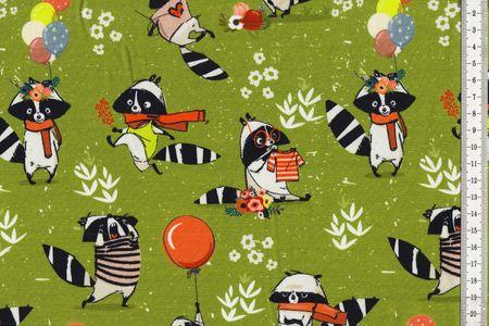 Jersey mit lustigen Waschbären auf grün von Fräulein von Julie