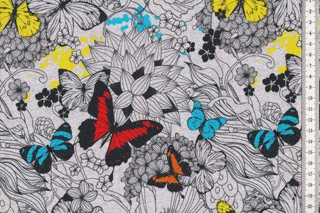 Jersey mit Schmetterlingen in leuchtenden Farben auf grau von Fräulein von Julie