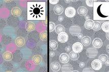 Baumwolljersey Farbwechsel mit Kreisen Circles auf grau 001