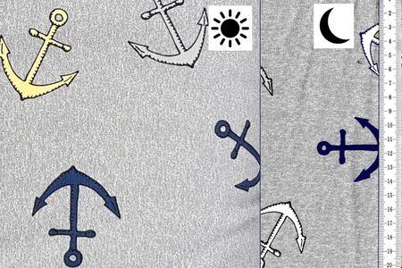 French Terry Farbwechsel mit Ankern auf grau – Bild 1