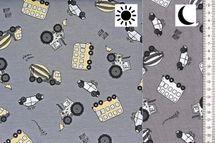 Baumwolljersey Farbwechsel mit Baufahrzeugen auf grau 001