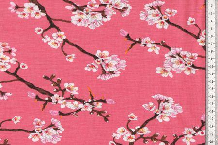 MODAL JERSEY BLOSSOM Stoff Kirschblüten auf altrosa
