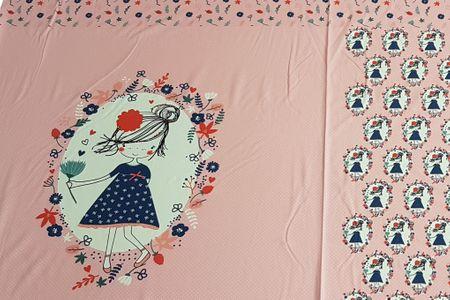 Jersey Panel Gilby pink Mädchen mit Blumen von BIPP Design®