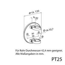 Edelstahl Geländer Pfostenträger Wandanker Pfostenhalter klemmbar Rohr 42,4 PT25