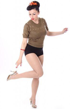 50s retro IRLANDA Polka Dots Jumper Strickshirt