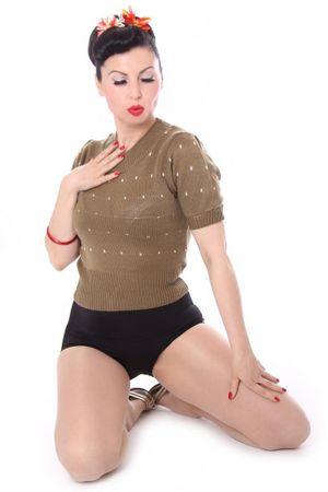 50s retro IRLANDA Polka Dots Jumper Strickshirt – Bild 4