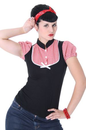ALINA Pin Up retro Gingham T-Shirt v. SugarShock