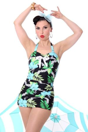 HAWAII VIOLETTA retro Hibiskus Pin Up Rockabilly Badeanzug Swimsuit – Bild 1